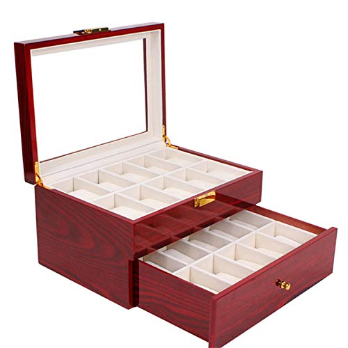 Nisorpa Wood Watch Box 20 Slots Glass Top Mens Watch Display Case Watch Box Organizer for Men Women Jewelry Storage Case with 20 Removable Soft Cushions Collection Boxes