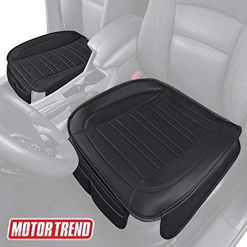 Motor Trend MTSC-420 Black Universal Car Seat Cushion (Front, 2-Pack)  Padded Luxury Cover with Non-Slip Bottom & Storage Pockets Faux Leather Chair Protector for Auto, Truck & SUV