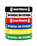 Fitness Motivational Wristbands Workout Rubber Bracelets with Inspirational Quote BE BETTER BE STRONGER, Unisex for Men Women Teens for Daily Gym Workout and Exercise Motivation