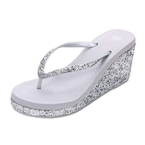 LINNUO Pantofole Donna Zeppa Infradito Estive con Tacco Sandali Piattaforma Casual con Paillettes Ciabatte da Spiaggia Mare Donna (Argento,CN 35)