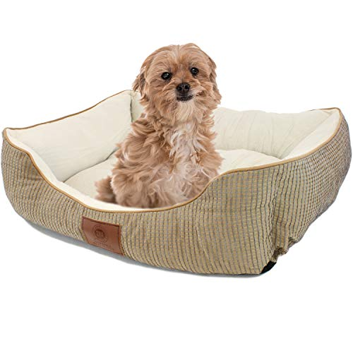 American Kennel Club Small Tan Dog Bed, Solid Weave Cuddler, AKC Pet Cuddler