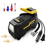 VacLife Tire Inflator for Home (110V) and Car (12V), AC/DC Portable Air Compressor, Bicycles and Other Inflatables, Digital Air Pump with LED Light & Long Power Cords, Model: ATJ-1666, (VL708)