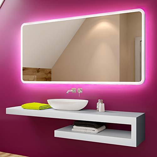 Badspiegel 80x60cm mit LED Beleuchtung - Wählen Sie Zubehör - Individuell Nach Maß - Beleuchtet Wandspiegel Lichtspiegel Badezimmerspiegel - LED Farbe zu Wählen Kaltweiß/Warmweiß L59