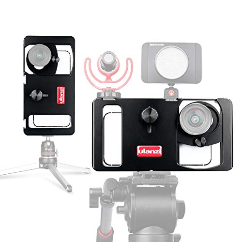 Metal Smartphone Video Rig per iPhone Samsung con 2 pattini per montaggio a freddo per l'aggiunta di video LED Microfono GoPro Videocamere stabili