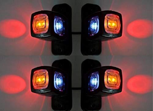VNVIS - 4 luci di posizione laterali arancioni, bianche, rosse, 12 V, 24 V, LED, per camion, roulotte, camper, rimorchi