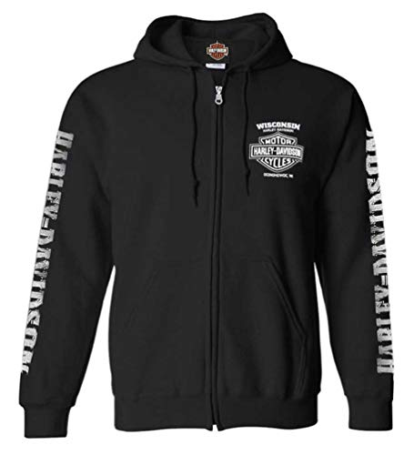 Harley-Davidson Men's Lightning Crest Full-Zippered Sweatshirt, Black (2XL)
