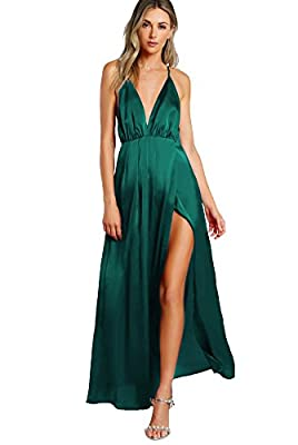 Material:100% Polyster. The material is very soft and smooth, Size runs large, P.S. Please check the SIZE CHART before your purchase. Plunge neck, spaghetti strap, side slit, maxi evening gown. The halter strings can be circled for one or more circle...