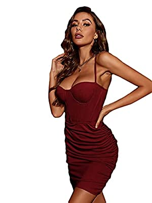 Soft and breathable fabric, light weight and not see-through, comfortable to wear Feature: Sexy ruched bodycon dress for women, sleeveless, solid color, slim fit, bodycon mini dress for women The party dress with adjustable straps and zipper back clo...
