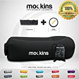 Mockins Black Inflatable Lounger Hangout Sofa Bed with Travel Bag Pouch The Portable Inflatable Couch Air Lounger is Perfect for Music Festivals and Camping Accessories Inflatable Hammock
