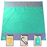 NS Sandfree Beach Blanket 82X79In Extra Large,Pocket Zipper Portable Waterproof and Quick Dry Outdoor Family Mat for Beach,Soft Compact Beach Mat Picnic Blanket,Camping,Music Festival (Green-Gray)
