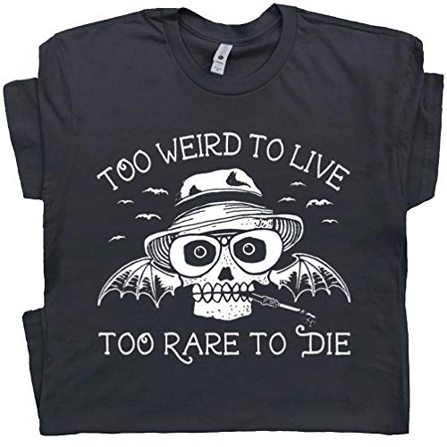 L - Cool Book T Shirt Funny Hunter Too Weird Novelty to Live Too Rare to Die HST Tshirt Fear and Loathing Writer Vintage Skull Black