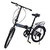 20in Folding Bikes for Adults and Teens, 7 Speed City Folding Compact Bike Bicycle with Comfort Saddle Urban Commuter Gift for Women and Men (Black, 20in 7 Speed US Stock)