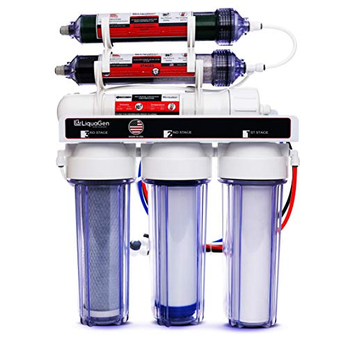 LiquaGen - 6 Stage Portable Dual Use Drinking and Aquarium Reef/Deionization | Reverse Osmosis Water Filter System RO/DI | w/pH Alkaline Mineral Restoration Filter | 0 PPM - 150 GPD
