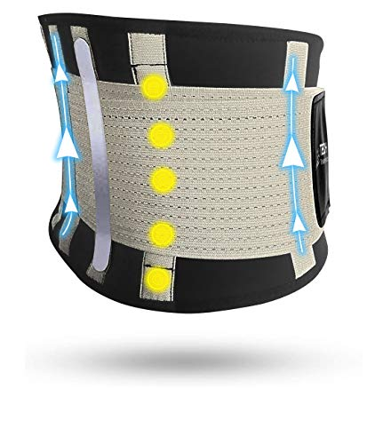 TECH THERAPEUTICS - Fascia Lombare Supporto Schiena Cintura Palestra di Sostegno Fascia Schiena Elastica Addominale Uomo Donna Con Flessibili Stecche e Terapia Magnetica Taglia (L - XL)