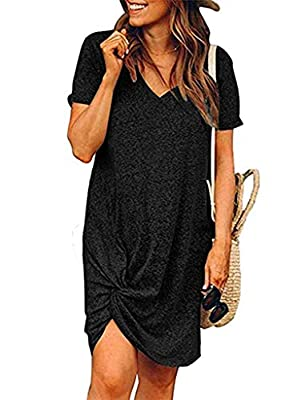 The Twist Knot T Shirt Dress is Very Soft ,Stretchy and Breathable, Making you Feel very Comfortable and Relaxed. Feature:casual short sleeve tunic dress,sexy deep v neck,trendy twist knot summer dress,loose fit solid dress,knee length,lightweight an...