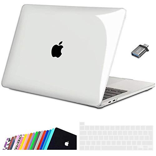 iNeseon Funda 2020 MacBook Pro 13 Pulgadas con Touch Bar A2338(M1)/ A2251/ A2289, Ultra Delgado Carcasa Protector Case Cover con Cubierta de Teclado & Adaptador USB C, Cristal...