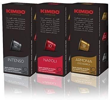 Kimbo Caffe' MIX 90 CAPSULE KIMBO (30 NAPOLI, 30 INTENSO, 30 ARMONIA) COMPATIBILITA' NESPRESSO RESPRESSO