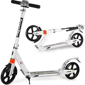 Fswallowhand Scooter eléctrico Scooter Plegable Blanco para Adultos - Scooter de cercanías Ajustable con trípode de…
