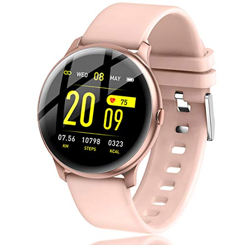 LIGE Smart Watch Fitness Tracker with Heart Rate Blood Pressure Monitor Full Touch Screen Bluetooth Music Control Sleep Tracker Pedometer for Women Men Kids, Pink