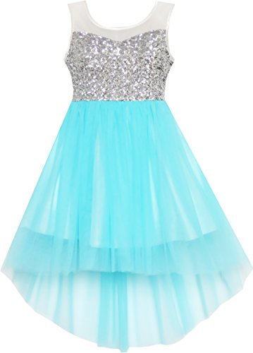 HK21 Girls Dress Sequin Mesh Party Wedding Princess Tulle Blue Size 7