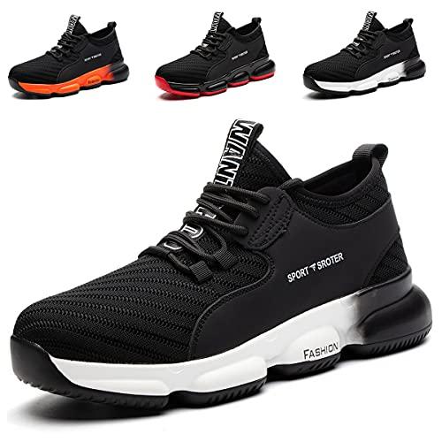YISIQ Zapatos de Seguridad para Hombre Mujer Transpirable Ligeras con Puntera de Acero Trabajo Calzado de Zapatos de Industrial y Deportiva Unisex, 07 Negro Blanco, 38 EU