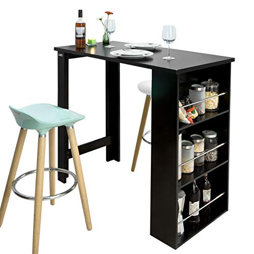 SoBuy Tavolo alto nero Bancone bar Penisola cucina L112*P57*A106cm FWT17-SCH