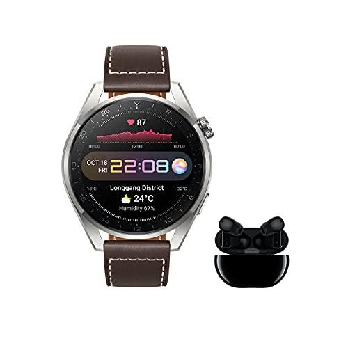 HUAWEI Watch 3 Pro Classic + Freebuds Pro Negro - Smartwatch de titanio 4G con pantalla de zafiro AMOLED de 1,43'', eSIM para llamadas y conectividad independiente, correa de cuero marrón