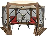 """HAPPYGRILL 140""""x 140"""" Outdoor Patio Canopy Portable Pop up Gazebo, Large Screen Tent Bug & Rain Protection, Brown"""