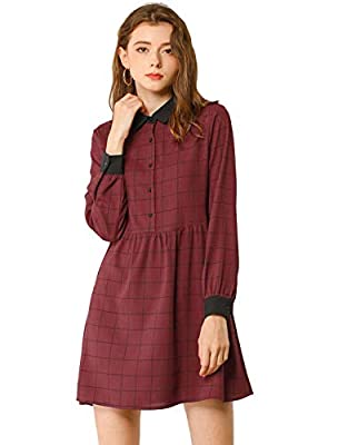 Long Sleeves, Point Collar, Contrast Color, Half Placket, Button Cuffs, Above Knee Length, Unlined. Loose Fit. The cute and chic design of the dress will create a charming and sweet look. Occasion: Vacation, Dating, Party, Gathering, Evening Dinner, ...