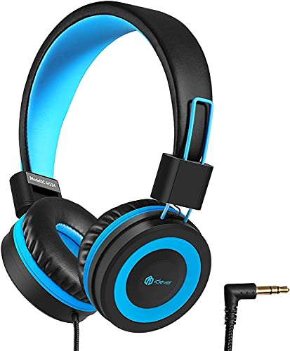 Kids Headphones, iClever Headphones for Kids with 94dB Volume Limited for Boys Girls, Adjustable Headband, Foldable, Child Headphones on Ear for Study Tablet Airplane School, Black, Blue