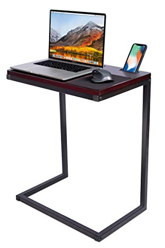 Sofia + Sam Sofa Table TV Tray with Tablet and Phone Slots - Work from Home - Laptop Stand for Couch Bed - Metal Legs - Console Lapdesk - Breakfast Eating Food - Coloring Computer Crafts - Lap Desk