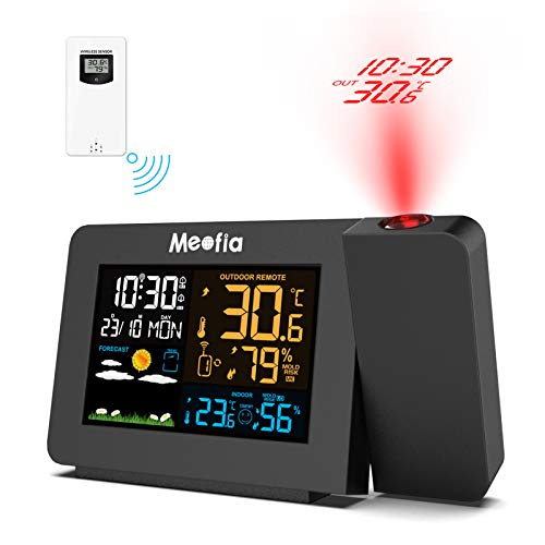 Meofia Projection Alarm Clock for Bedrooms with Weather Station, Digital Projection Clock, Wireless Indoor Outdoor Thermometer, Temperature Humidity Monitor Gauge Hygrometer, Dual Alarm Snooze