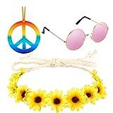Hippie Costume Accessory - 70s Hippie Sunglasses, Rainbow Peace Sign Necklace, Flower Crown Headband for Women (3PCS)