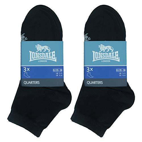 Lonsdale Quarter 6 Paia di calzini sopra la caviglia, ottima qualit di cotone (Nero, 43-46)
