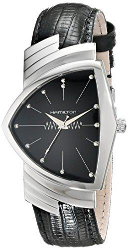 Hamilton Ventura H24411732 Herren-Armbanduhr aus Edelstahl mit schwarzem Lederband