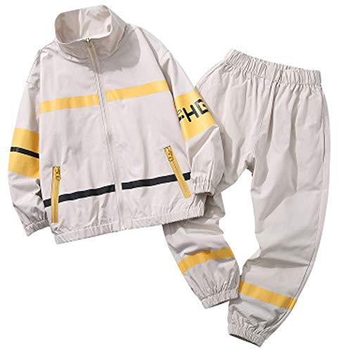 Ensemble de veste et pantalon long pour garçon, printemps et automne, vêtements de sport décontractés pour grands enfants, noir, blanc-blanc 150 cm