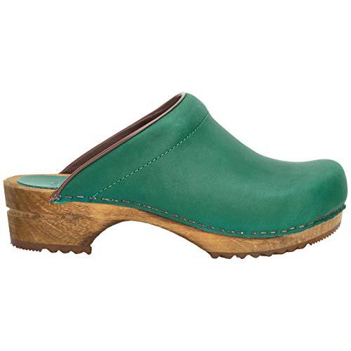 Sanita Zueco Chrissy Mule | Zueco de cuero de madera hecho a mano original para mujer, color Verde, talla 36 EU