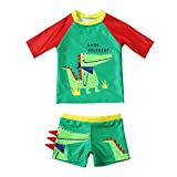 Maillots de Bain pour Garçons Deux Pièces Anti-UV Ensemble T-Shirt à Manches Courtes + Shorts pour Enfants Garçon 2-8 Ans Séchage Rapide (Crocodile Vert, 4-6 Ans)