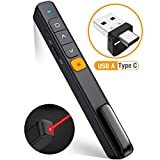 DinoFire Wireless PowerPoint Presentation Clicker Remote, 2 in 1 Type C and USB A RF 2.4GHz PPT Presentation Presenter Laptop Clicker Pointer Slide Advancer with Hyperlink Volume Control