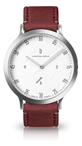 Lilienthal Berlin Unisex Armbanduhr L1 | Prämiertes Design | Qualität Made in Germany (groß 42,5mm, Gehäuse: Silber/Zifferblatt: weiß/Armband: Amarena)
