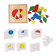 KESOTO Montessori Material Holzspielzeug Mathe Geometrie | Winkelmesser | Bruchrechnen