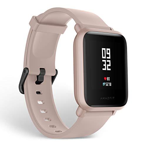 Amazfit Bip Lite Smartwatch Reloj inteligente,Rastreador con monitor cardíaco y de gimnasia,Batería útil de 45 días,Sumergible 3 ATM con Andriod y iOS-Rosa