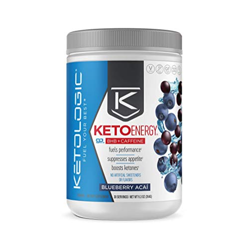 KetoLogic BHB Exogenous Ketones Powder with Caffeine (30 Servings) - Keto Pre-Workout, Boosts Ketosis, Energy & Focus - Support Keto Diet with Beta-Hydroxybutyrate Keto BHB Salts - Blueberry Acai 1