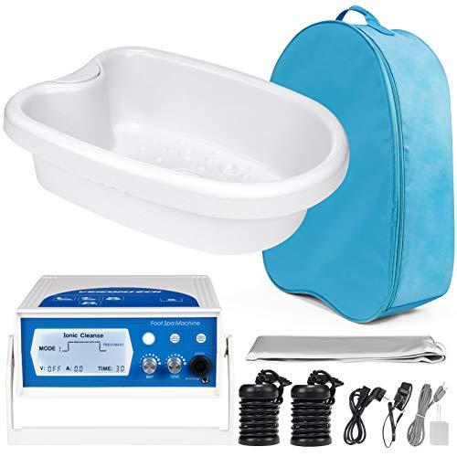 veicomtech 2020 Upgrade Ionic Foot Bath Detox Machine, Foot Detox Machine Detox Foot Spa with Basin, 2 Arrays, Far Infrared Waist Belt, 2 TENS Pads, 1 Blue Bag