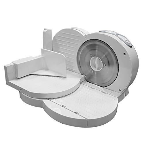 MPM - MKR-03, Affettatrice pieghevole, spessore di taglio regolabile 15 mm, disco taglio 17 cm, 150 W, colore bianco