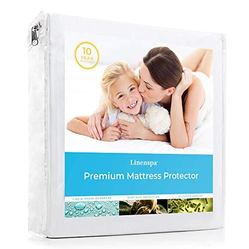 LINENSPA Premium Smooth Fabric Mattress Protector-100% Waterproof-Hypoallergenic- Vinyl Free Protector, Queen, White