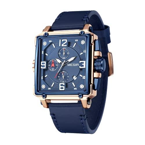 MEGIR Herren-Uhren mit Lederband, leuchtende rechteckige analoge Quarz-Armbanduhr für Herren 2061BE