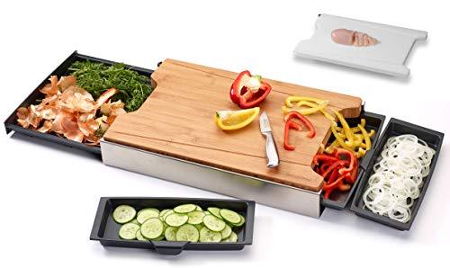 Schneidbox Bambus - Schneidebrett Mit 4 Auffangschalen Im Edelstahlkasten Inkl. Wechselbrett - Patentiertes Trennsystem - Made In Germany