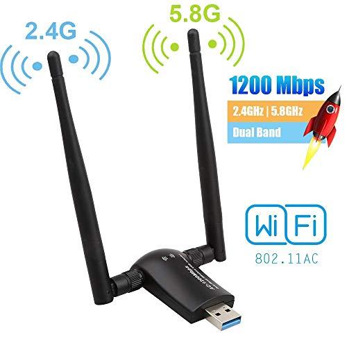 Flybiz Chiavetta WiFi 1200Mpbs, Adattatore USB 3.0 WiFi, Dual Band Wireless Adapter WiFi con Antenna...
