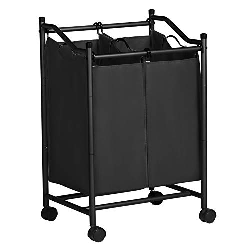 SONGMICS Wäschesortierer mit Rollen und 2 Fächern, Wäschekorb, Wäschesammler, Wäschewagen mit abnehmbaren Taschen, Gesamtkapazität 90 L, schwarz, LSF002BK